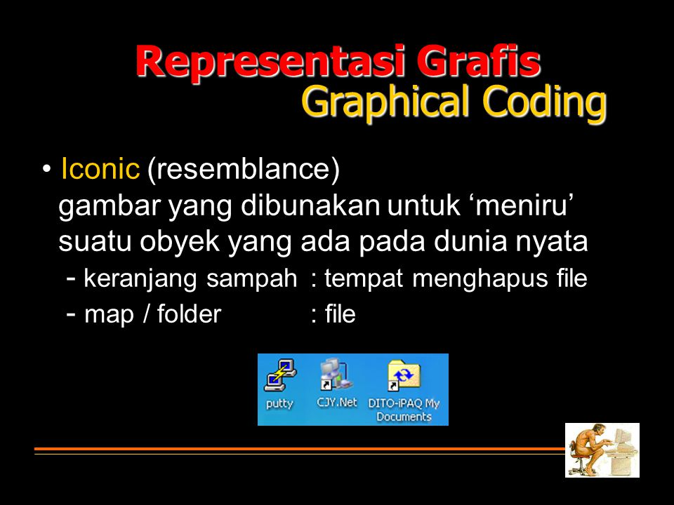 Representasi Grafis Graphical Coding • Iconic (resemblance)