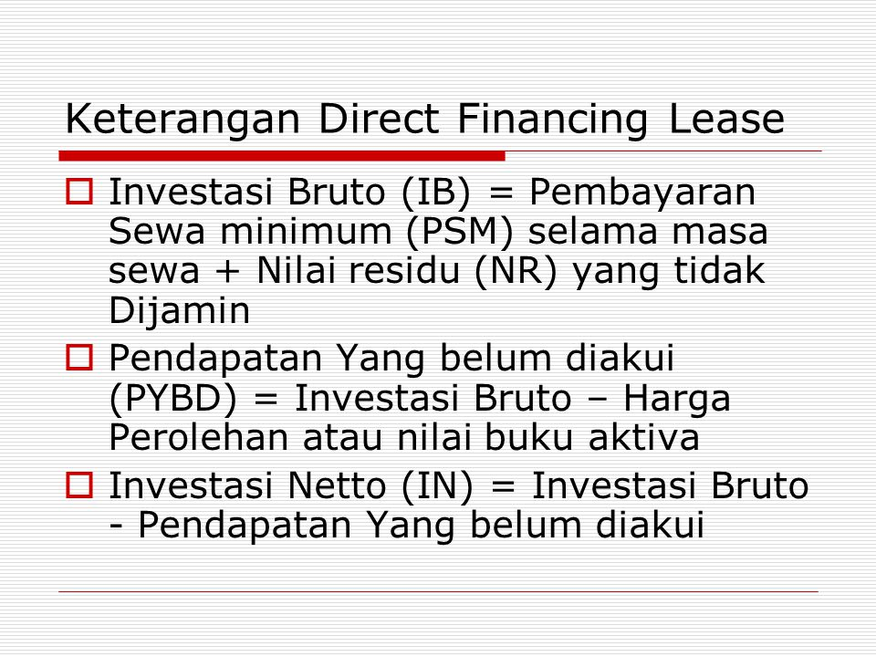 Keterangan Direct Financing Lease