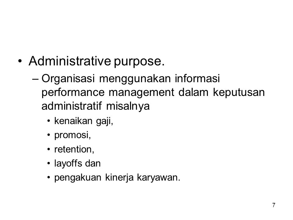 Administrative purpose.