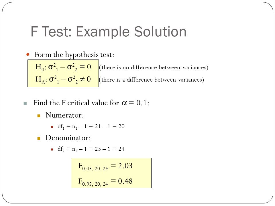 F Test: Example Solution