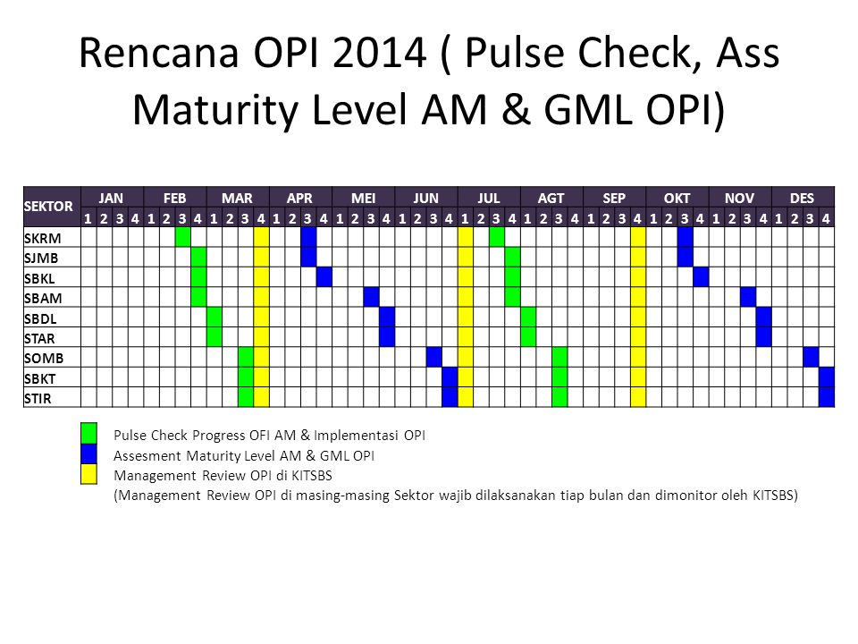 Rencana OPI 2014 ( Pulse Check, Ass Maturity Level AM & GML OPI)
