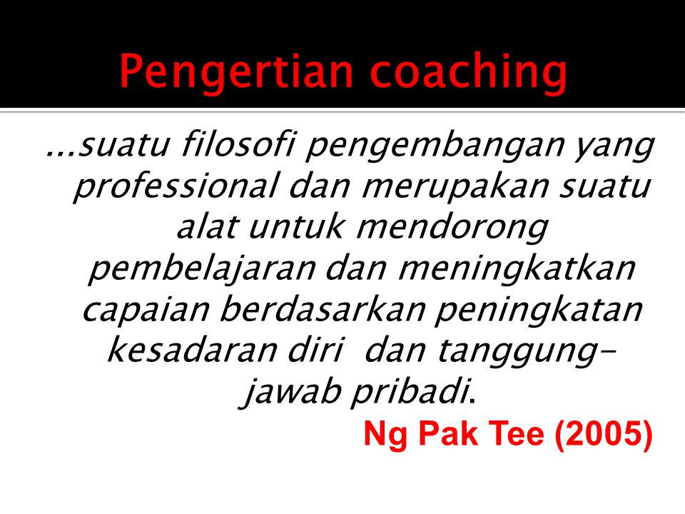 Pengertian coaching