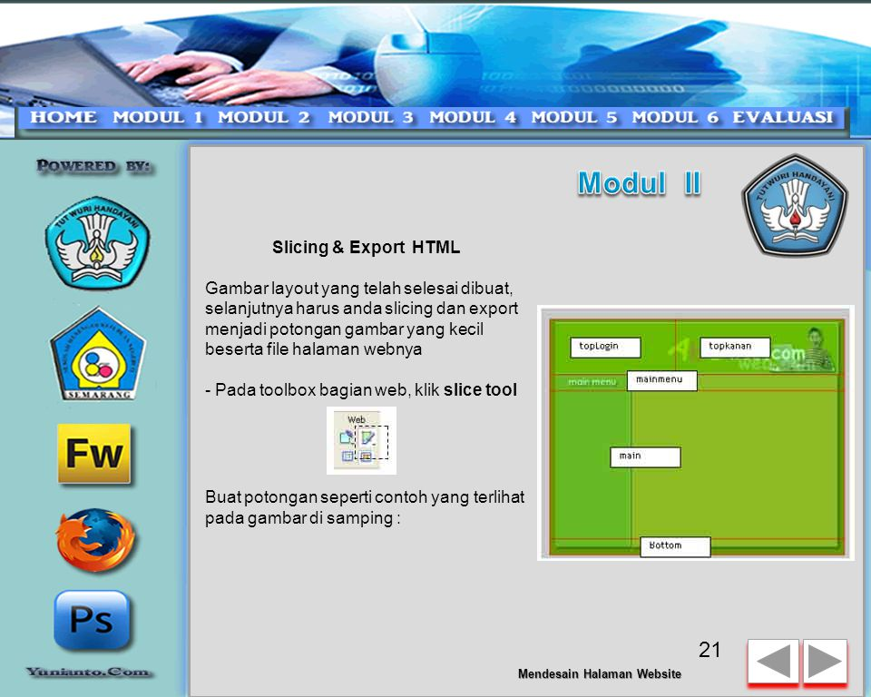 Modul II Slicing & Export HTML