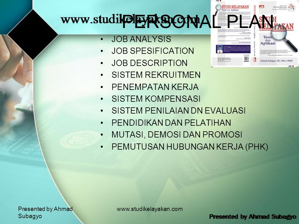 PERSONAL PLAN JOB ANALYSIS JOB SPESIFICATION JOB DESCRIPTION