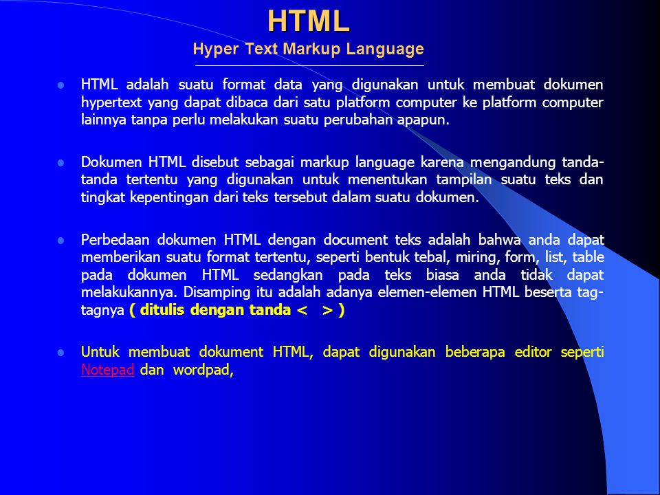 HTML Hyper Text Markup Language