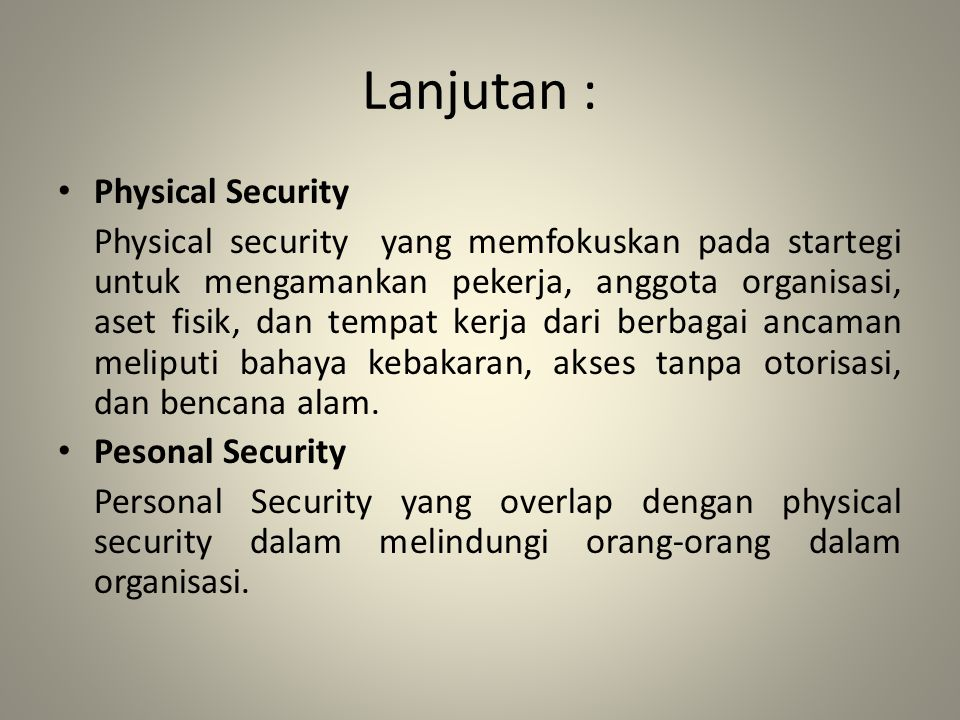 Lanjutan : Physical Security