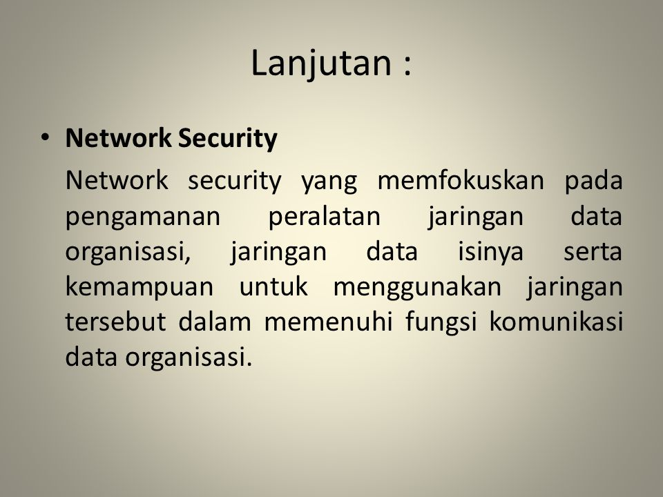 Lanjutan : Network Security