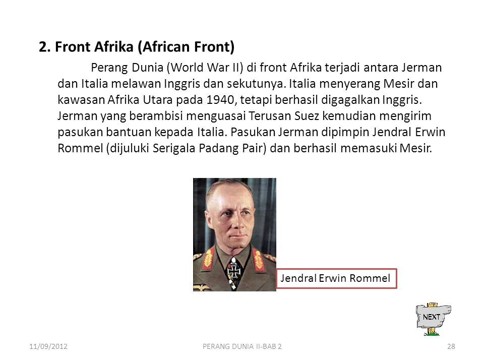 2. Front Afrika (African Front)