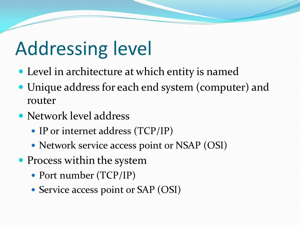 Addressing level Level in architecture at which entity is named
