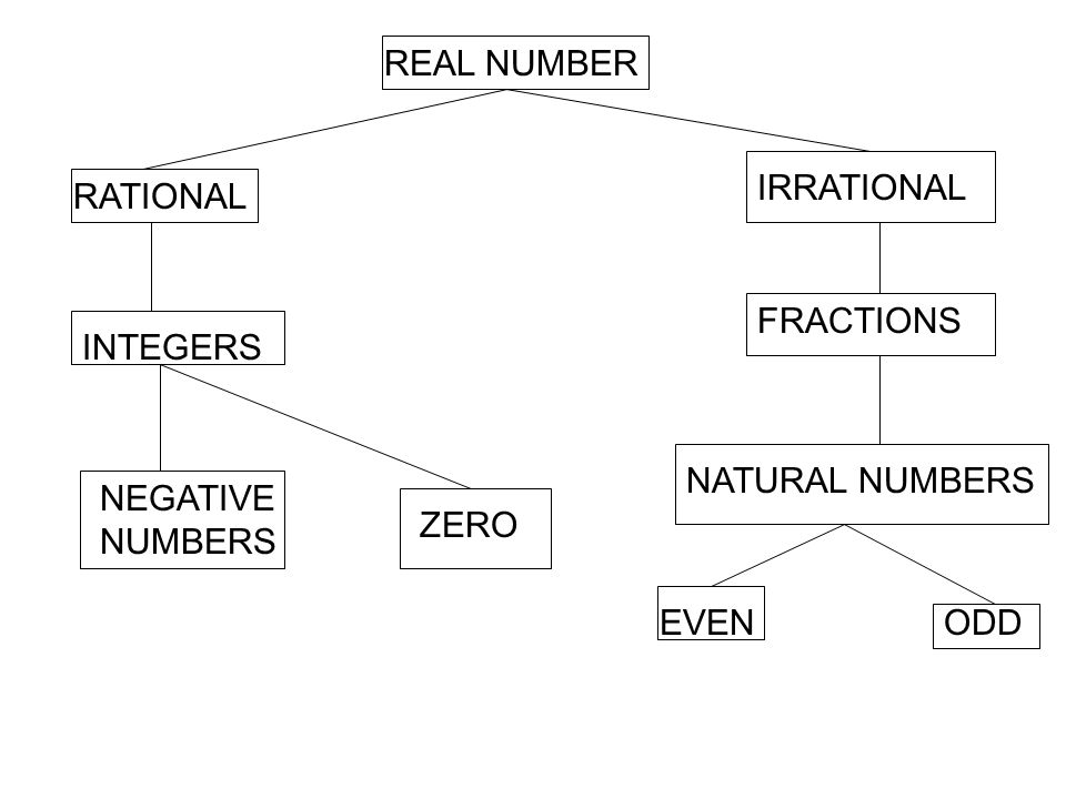 REAL NUMBER IRRATIONAL RATIONAL FRACTIONS INTEGERS NATURAL NUMBERS NEGATIVE NUMBERS ZERO EVEN ODD