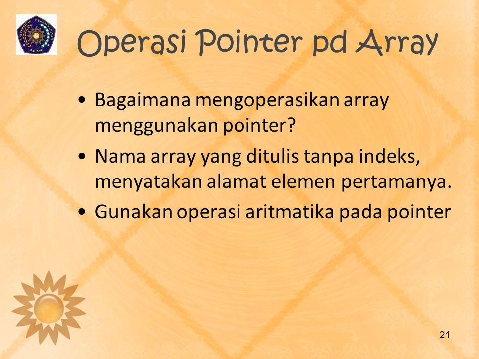 Operasi Pointer pd Array