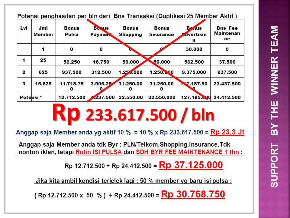 Rp 233.617.500 / bln SUPPORT BY THE WINNER TEAM