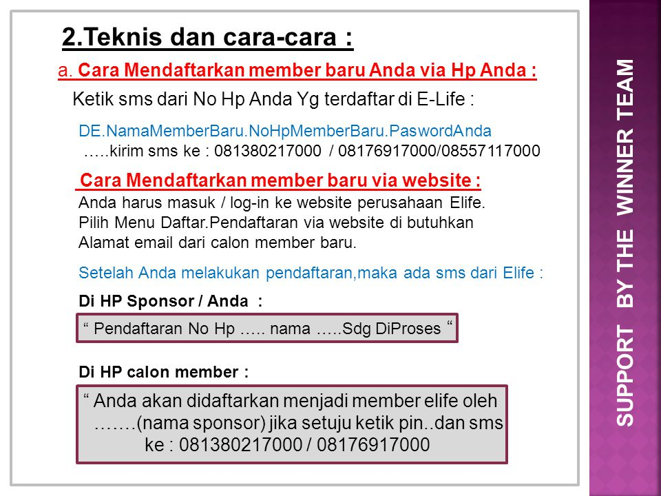2.Teknis dan cara-cara : SUPPORT BY THE WINNER TEAM
