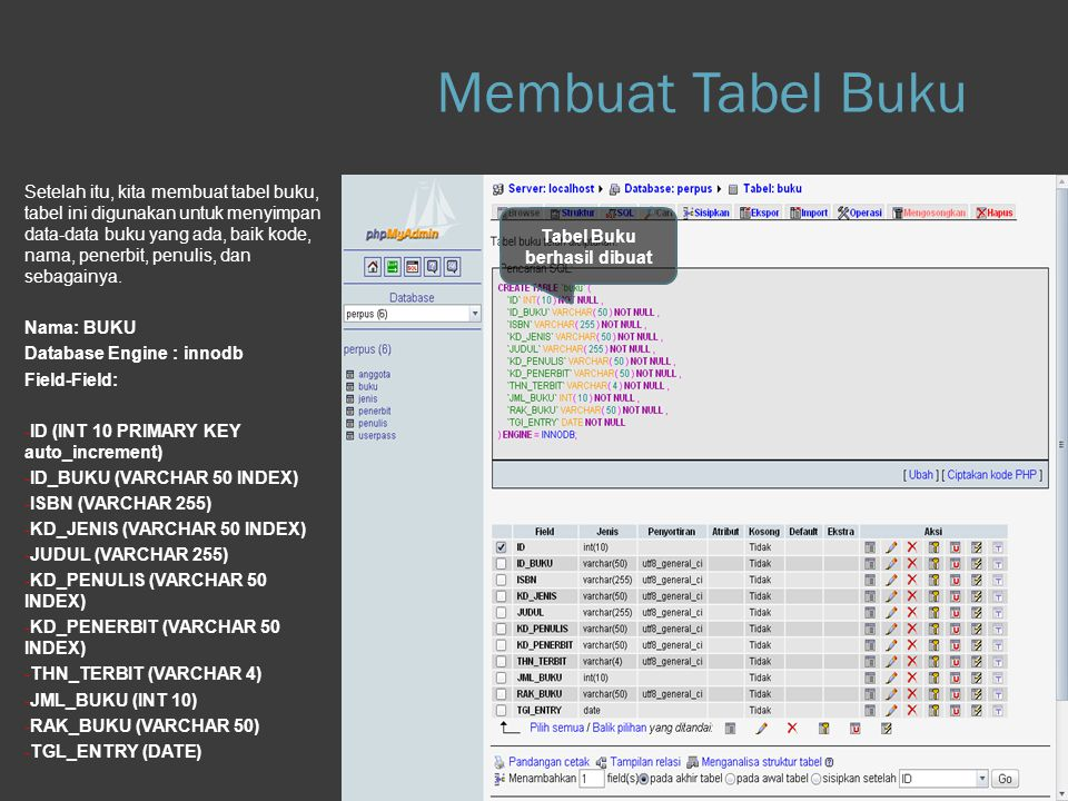 Membuat Tabel Buku Step 1.g Database