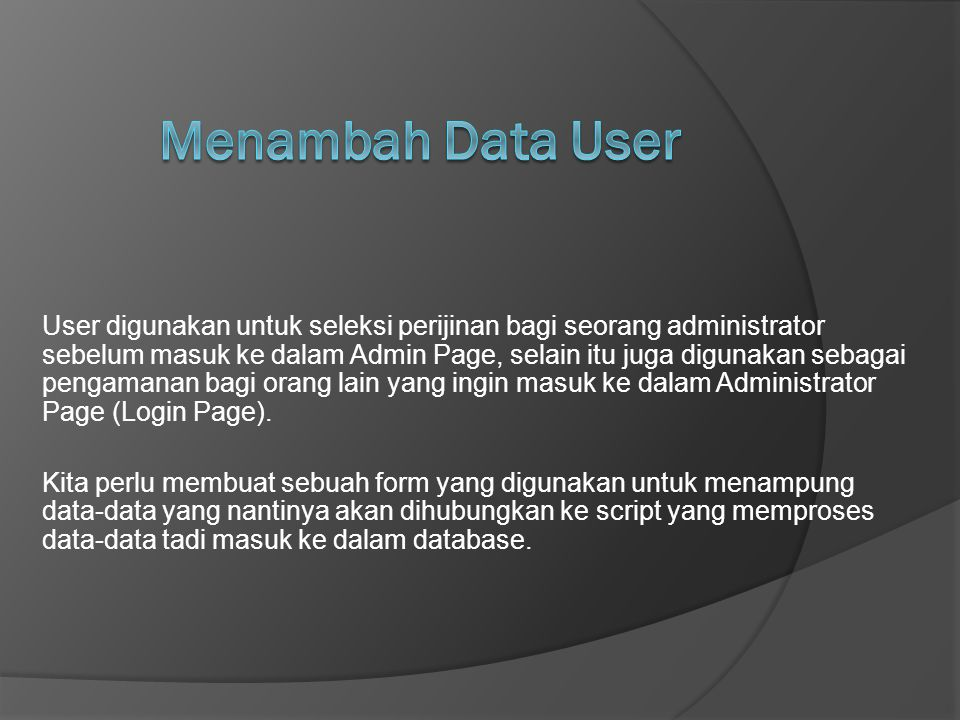 Menambah Data User