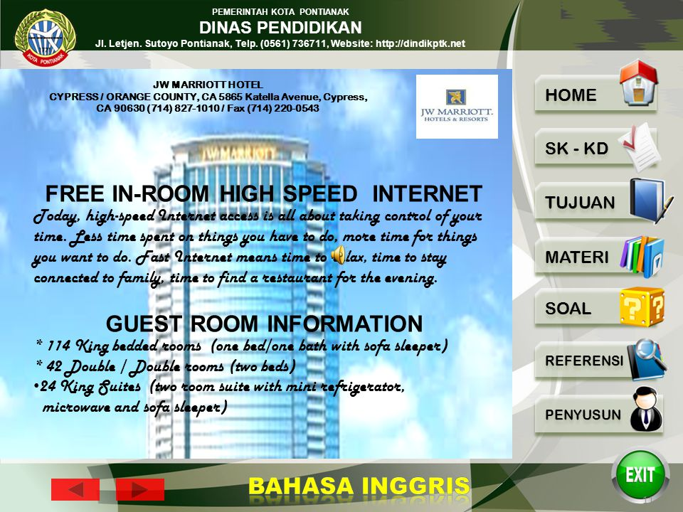 FREE IN-ROOM HIGH SPEED INTERNET GUEST ROOM INFORMATION