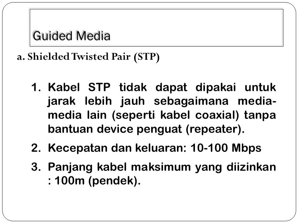 Guided Media a. Shielded Twisted Pair (STP)