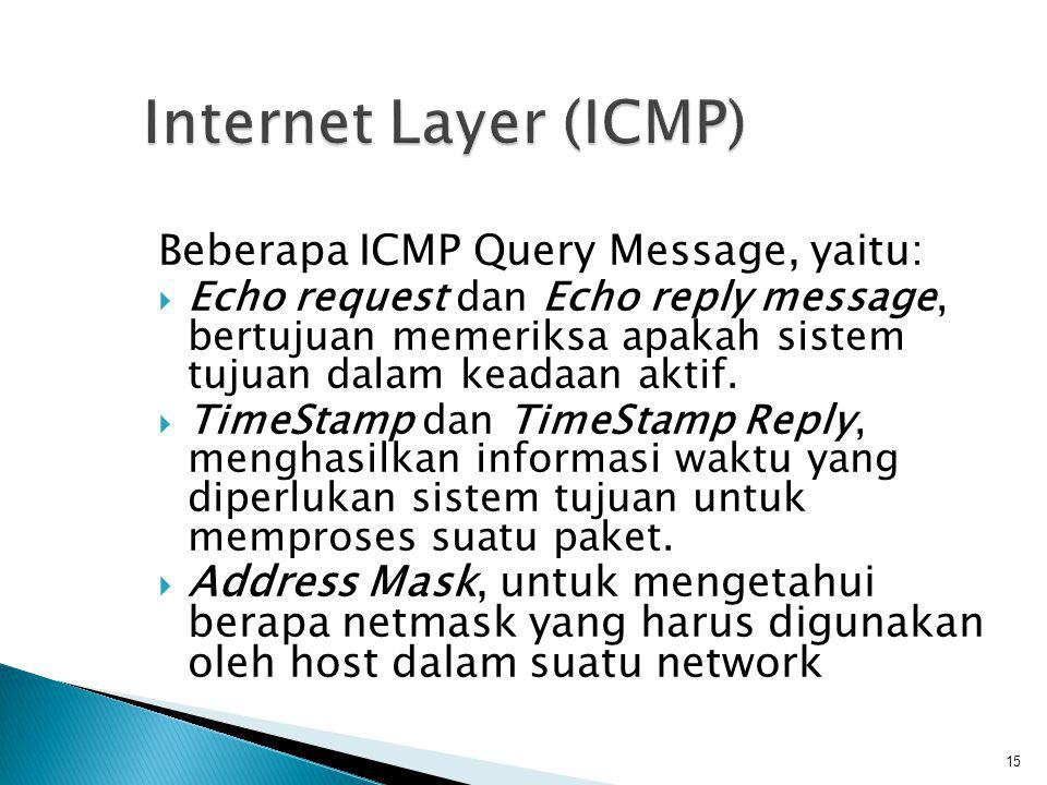 Internet Layer (ICMP) Beberapa ICMP Query Message, yaitu: