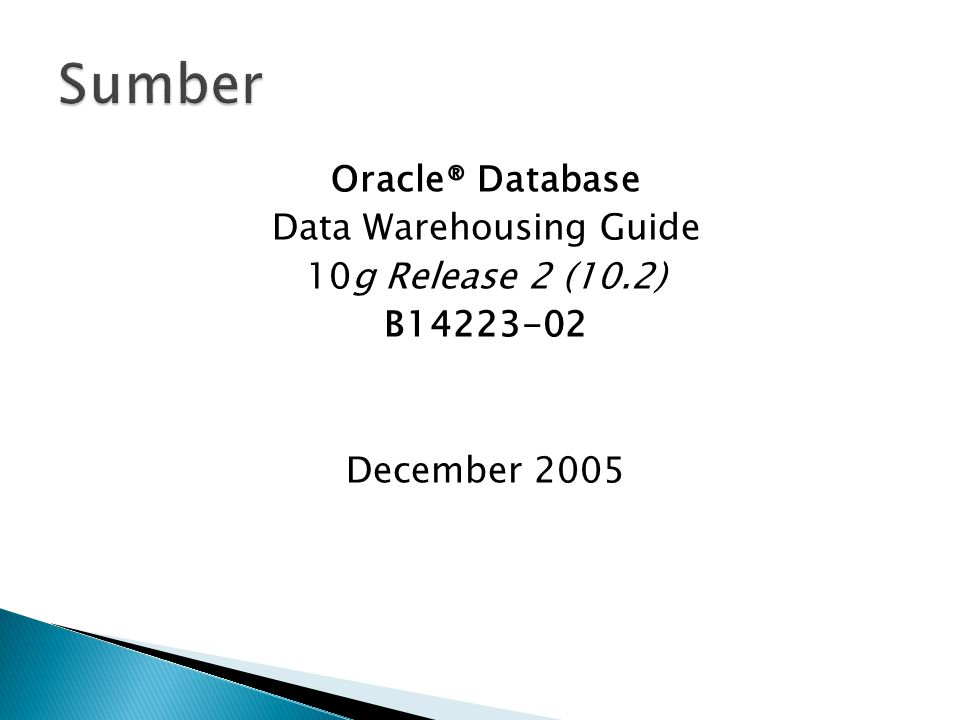 Data Warehousing Guide
