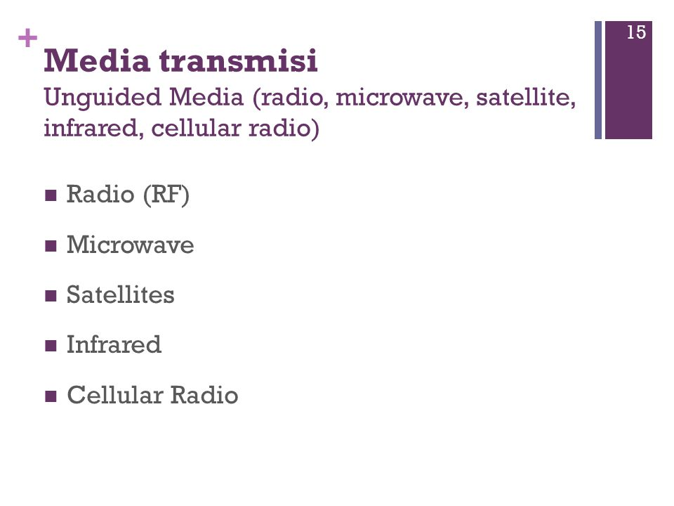 Media transmisi Unguided Media (radio, microwave, satellite, infrared, cellular radio)