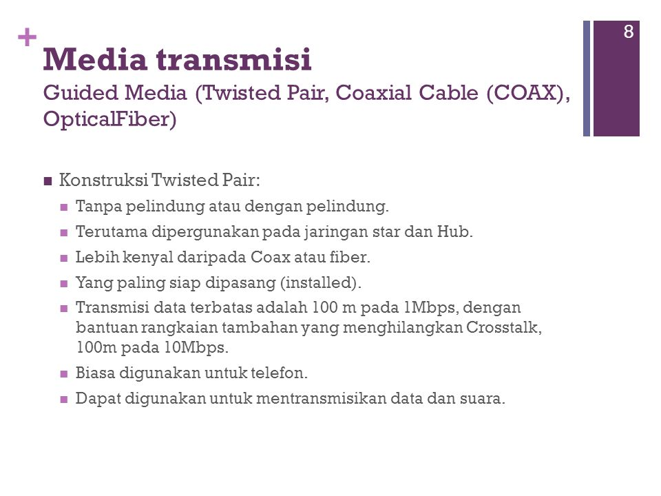 Media transmisi Guided Media (Twisted Pair, Coaxial Cable (COAX), OpticalFiber)