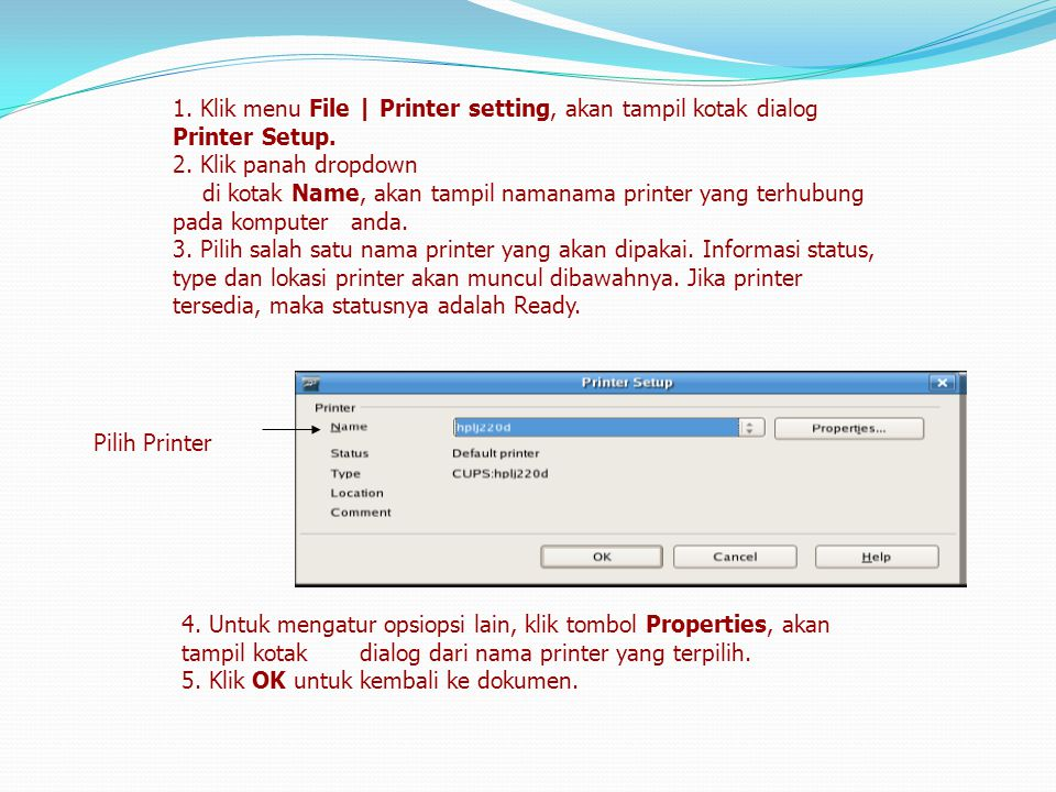 1. Klik menu File | Printer setting, akan tampil kotak dialog Printer Setup.