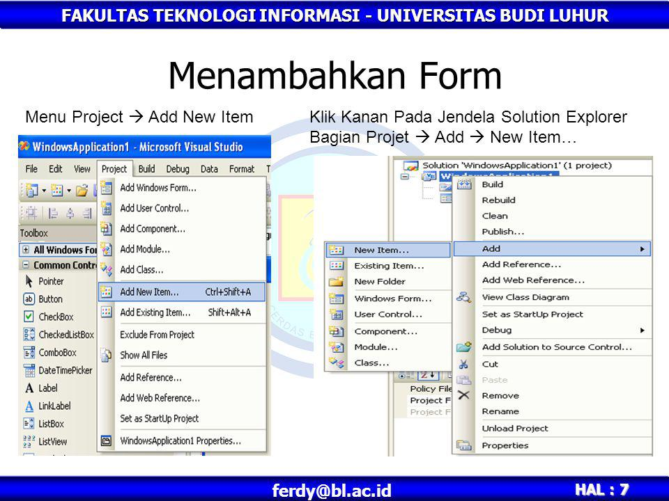 Menambahkan Form Menu Project  Add New Item