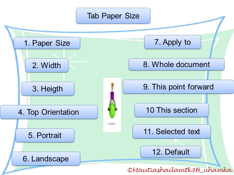 Tab Paper Size 7. Apply to 1. Paper Size 2. Width 8. Whole document