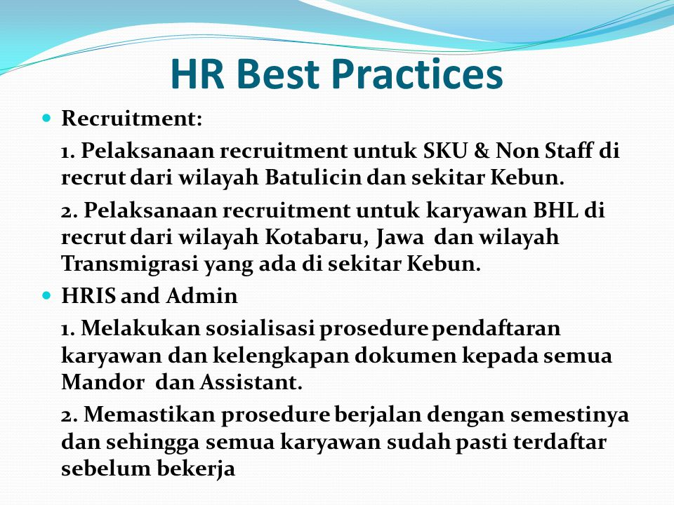 HR Best Practices Recruitment: