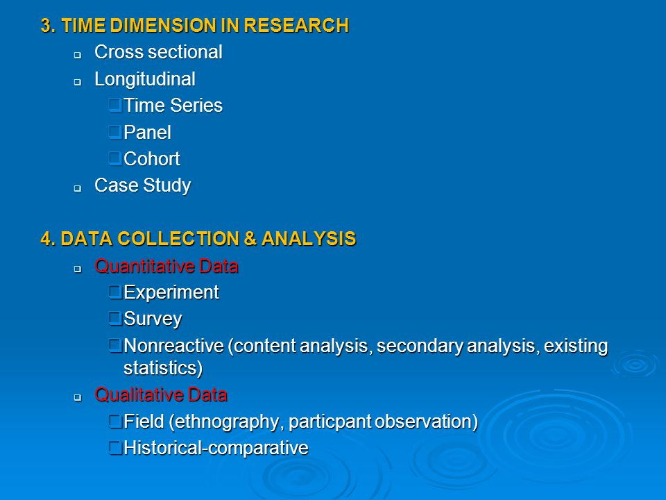 3. TIME DIMENSION IN RESEARCH