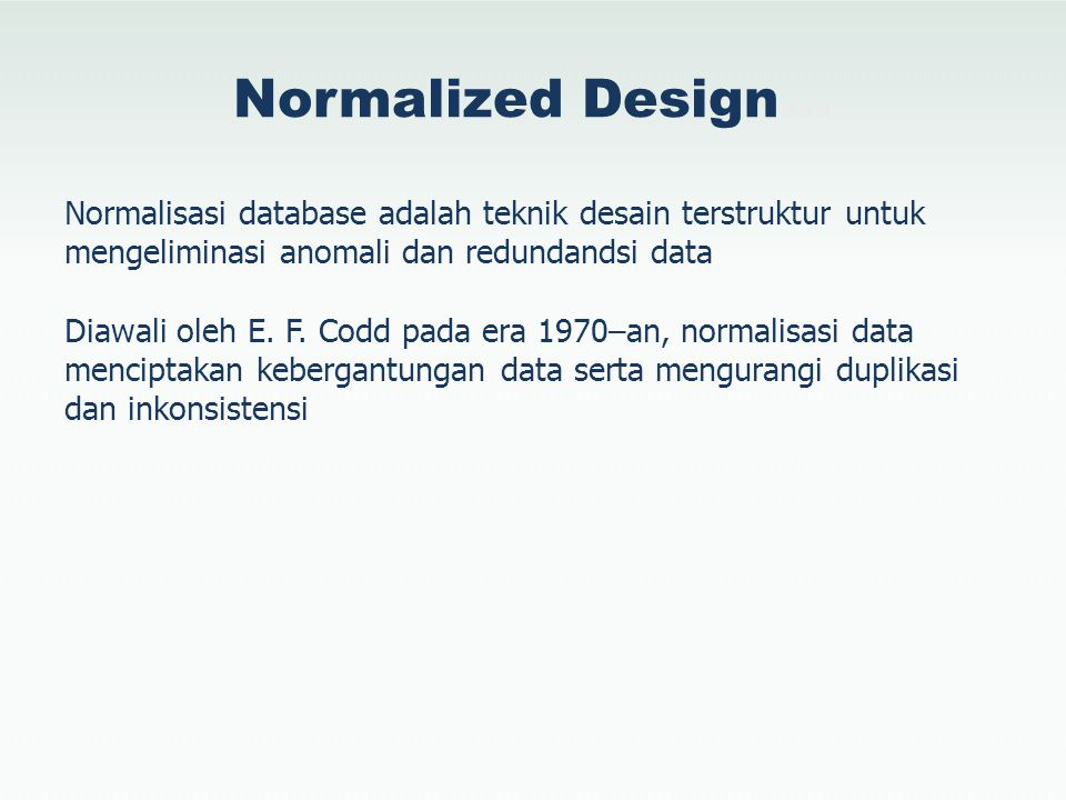Normalized Design…