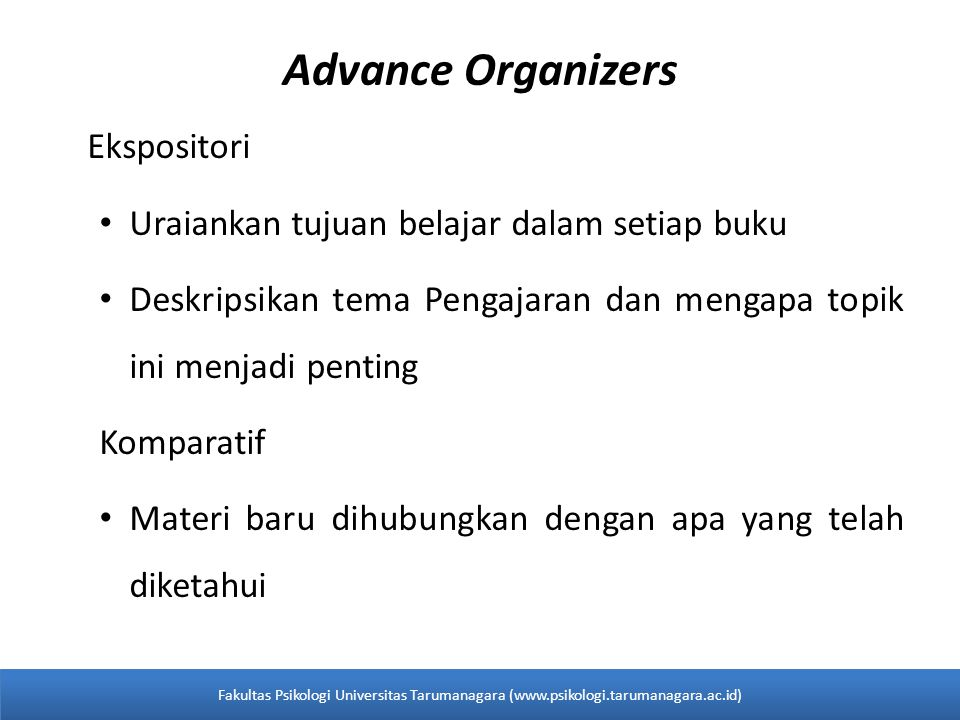Advance Organizers Ekspositori