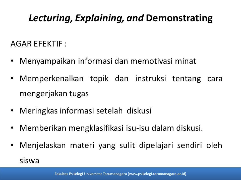Lecturing, Explaining, and Demonstrating