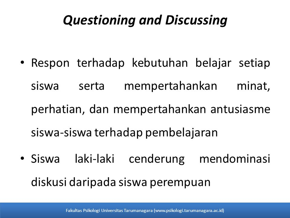 Questioning and Discussing
