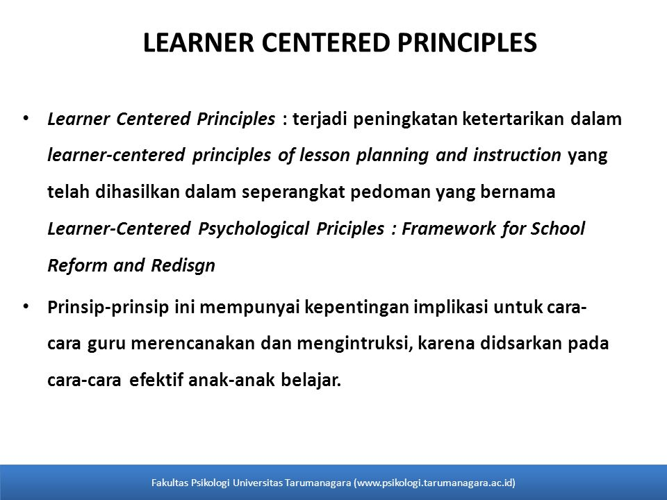 LEARNER CENTERED PRINCIPLES