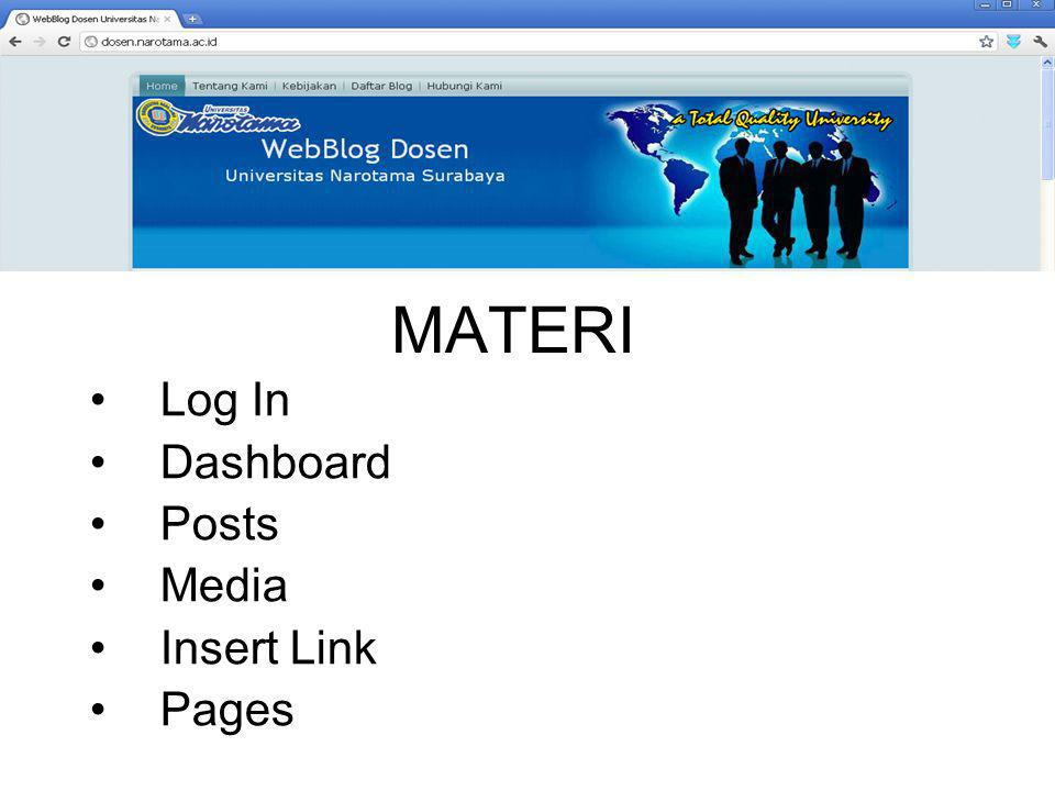MATERI Log In Dashboard Posts Media Insert Link Pages