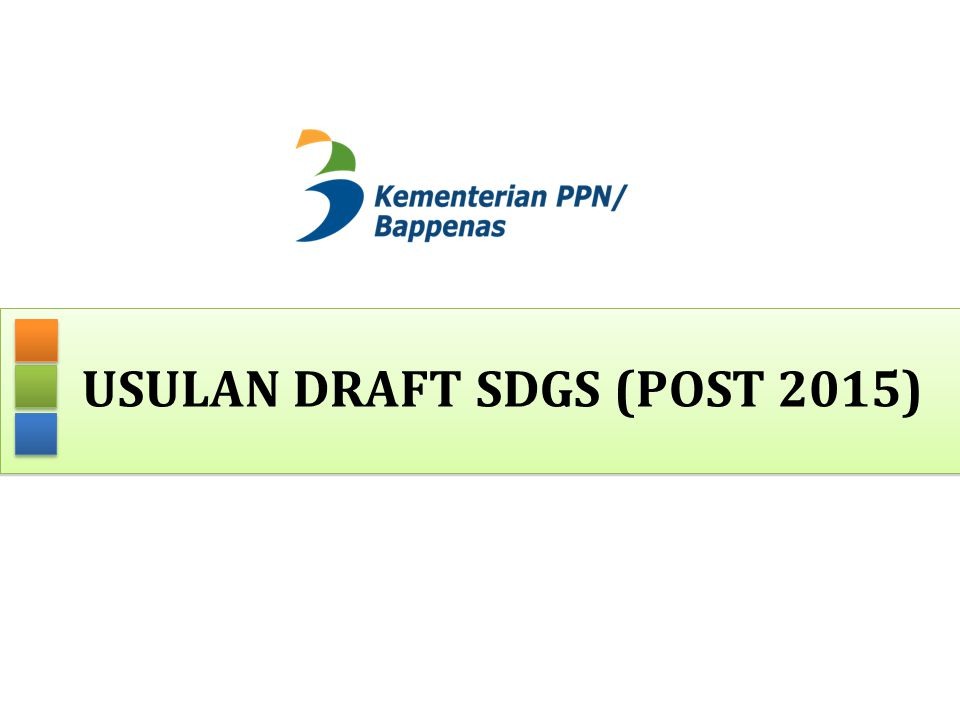Usulan draft sdgS (post 2015)