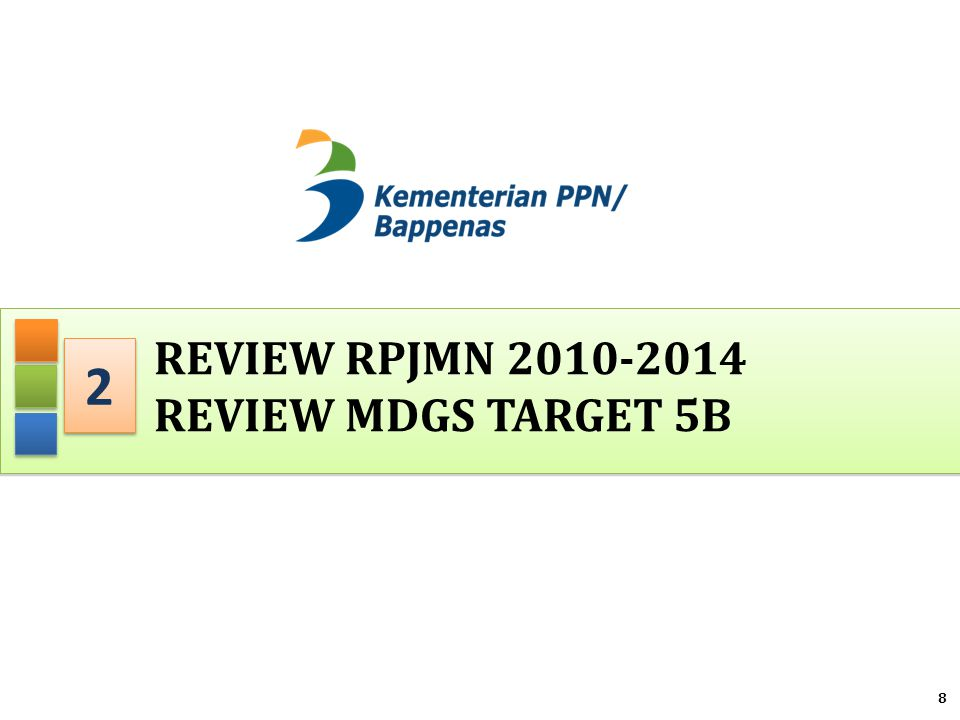 REVIEW RPJMN 2010-2014 REVIEW MDGs TARGET 5b