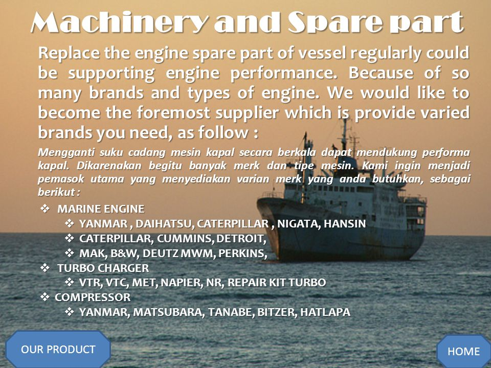 Machinery and Spare part