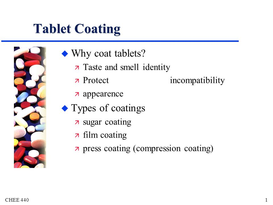 Tablet Coating Why coat tablets Types of coatings