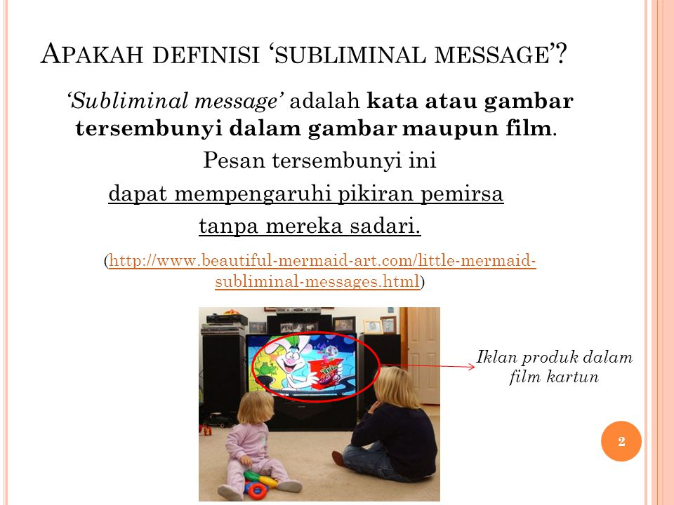 Apakah definisi 'subliminal message'