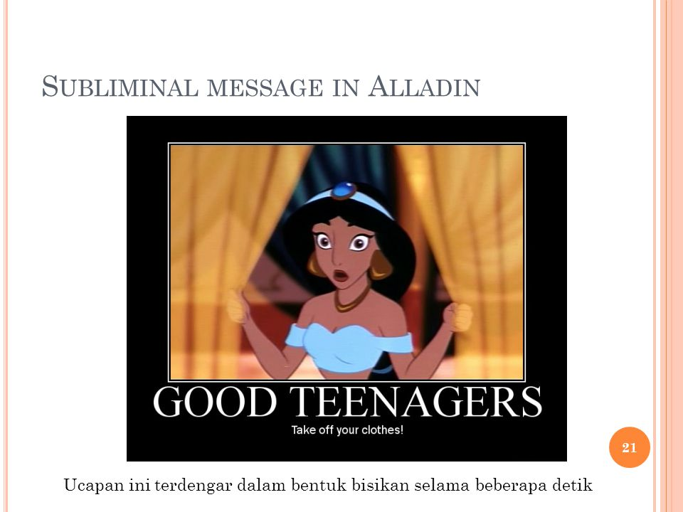 Subliminal message in Alladin