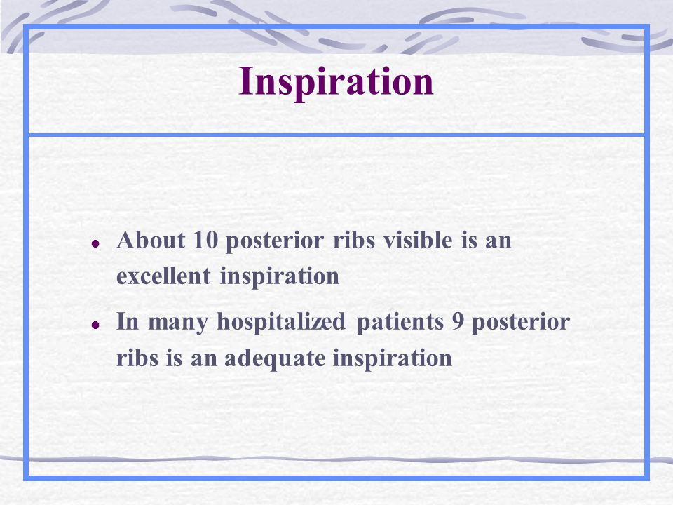 Inspiration About 10 posterior ribs visible is an excellent inspiration.