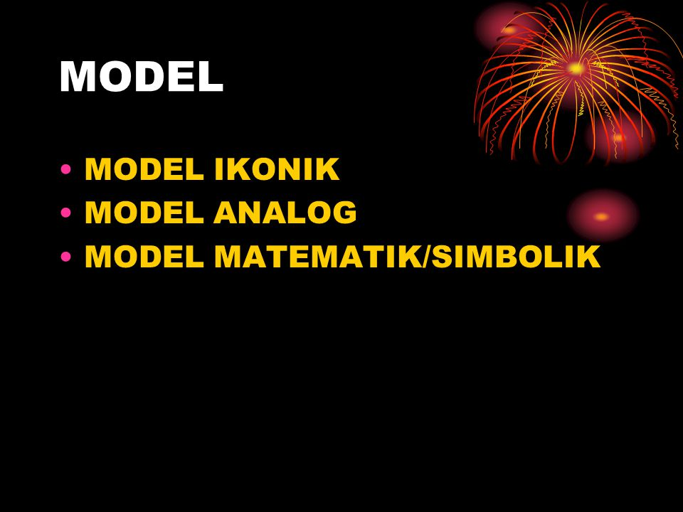 MODEL MODEL IKONIK MODEL ANALOG MODEL MATEMATIK/SIMBOLIK