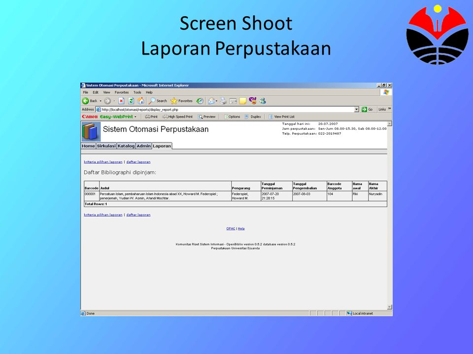 Screen Shoot Laporan Perpustakaan