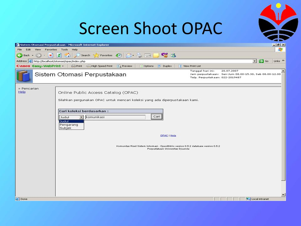 Screen Shoot OPAC