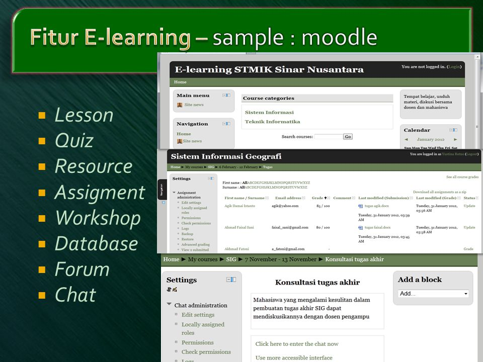 Fitur E-learning – sample : moodle