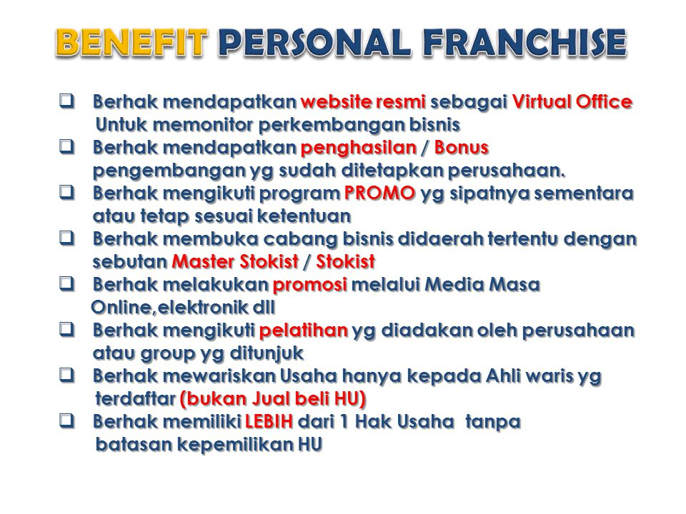 BENEFIT PERSONAL FRANCHISE