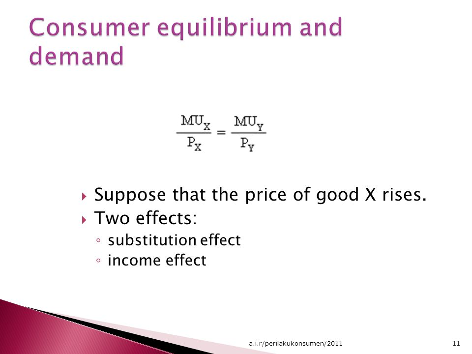Consumer equilibrium and demand