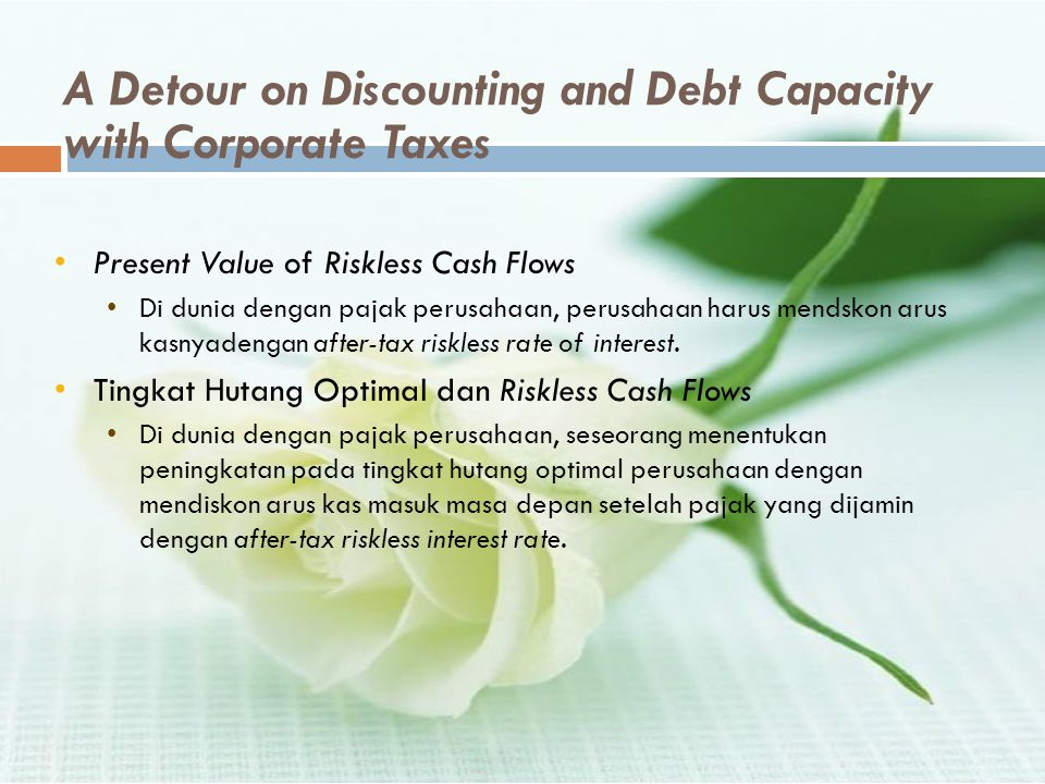 A Detour on Discounting and Debt Capacity with Corporate Taxes